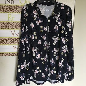 maurice's inmotion zip up sweater black floral